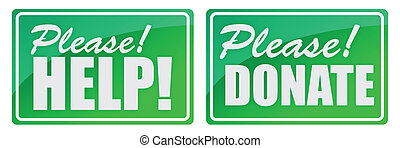 Please Donate and Give Green Store-front-style Sign illustration
