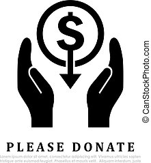 Please donate vector icon
