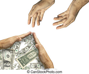Please help me! NO! (rich man and poor man) - hands asking...