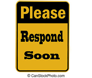 please respond sign isolated - sign requesting to please ...