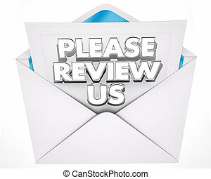 Please Review Us Invitation Message Envelope 3d Illustration