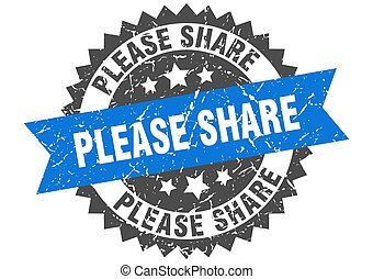 please share stamp. grunge round sign with ribbon