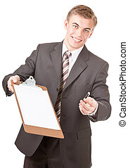man in office clothes on a white background