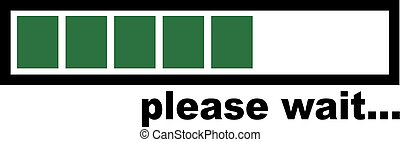 Please wait - green Loading bar