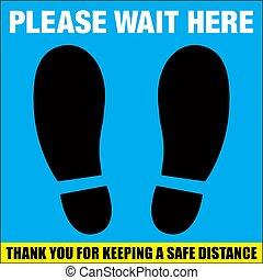 Please Wait Here Floor Decal | Social Distancing Sticker