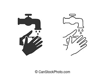 Please wash your hands icon line sign set. Vector ...