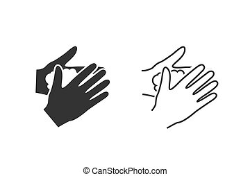 Please wash your hands line icon sign set. Vector ...