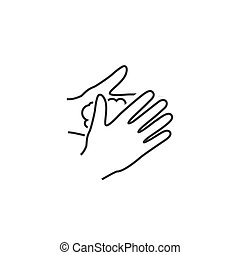 Please wash your hands line icon sign. Vector illustration ...
