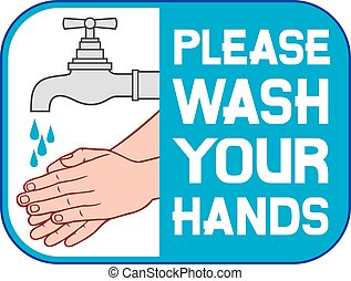 please wash your hands sign (please wash your hands icon, ...