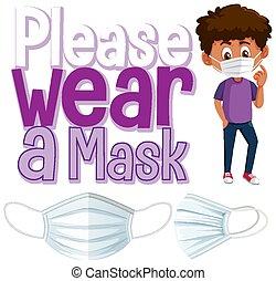Please wear a mask banner illustration