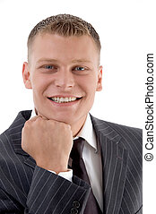pleased businessman showing his face against white background