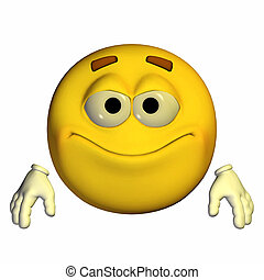 Illustration of a pleased emoticon isolated on a white background