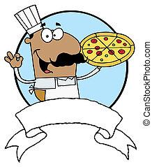 Pleased Hispanic Pizza Chef