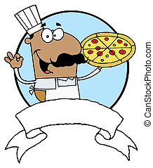 Pleased Hispanic Pizza Chef