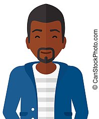 Pleased an african-american man with his eyes closed vector flat design illustration isolated on white background.