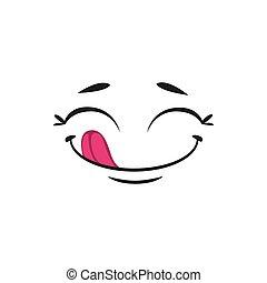 Pleased yummy emoji isolated smiley emoticon icon