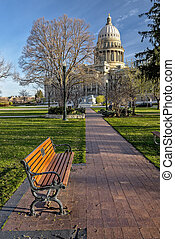 Pleasent view of the State capital of Idaho - Brick sidewalk...