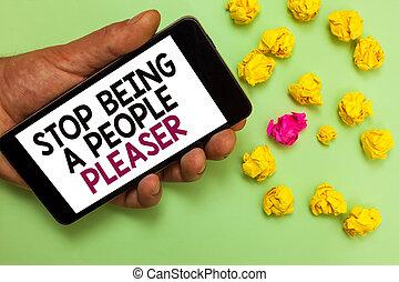 pleaser., concept, mensen, wezen, tekst, verfrommeld, willen, het kijken, wat, spullen, schrijvende , cel, anderen, vasthouden, u, zakelijk, scherm, stoppen, telefoon, niet, witte , man, woord, zoals, berichten, papers.