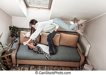 Top view of a nice Asian woman having fun