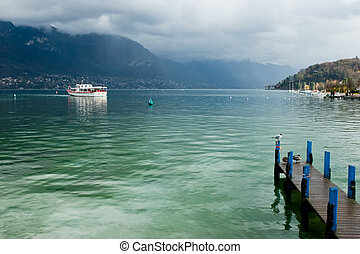 Pleasure boat at the Europe's cleanest Lake Annecy, Haute-Savoie, France