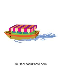 pleasure boat, flat, isolated object on white background, vector illustration,