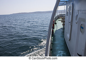 Pleasure boat floating in the Black Sea