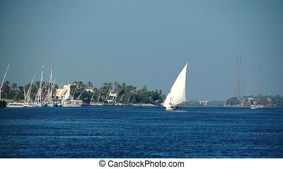 Pleasure boat floats on the waves of the Red Sea on the background of coast and beaches in Egypt.