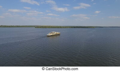 Pleasure boat on the Dnieper River - Pleasure boat floats on...
