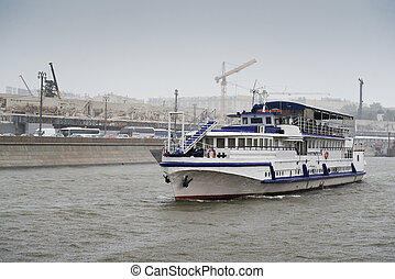 Pleasure boat on the Moscow river.