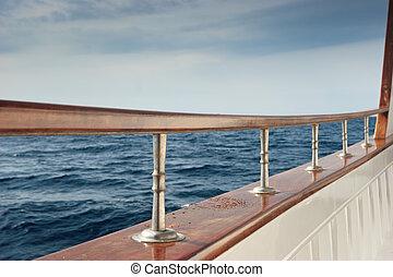 Pleasure boat rail - Rail of Pleasure boat sailing the...