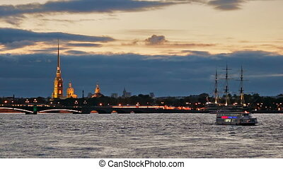Pleasure boats on Neva River near the fortress