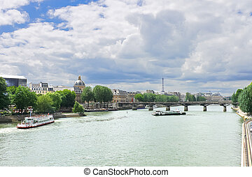 Pleasure boats on the Seine in Paris. France