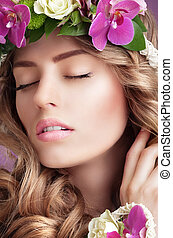 Pleasure. Face of Daydreaming Woman with Vernal Flowers