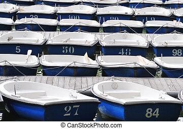 Pleasure Row Boats Docked on Lake