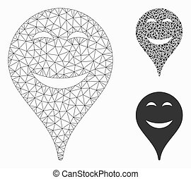 Pleasure Smiley Map Marker Vector Mesh Carcass Model and Triangle Mosaic Icon