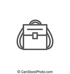 plecak, kreska, białe tło, ikona