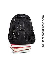 plecak, książki, czarnoskóry, biały