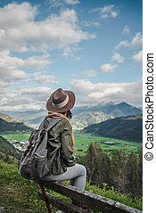 plecak, młoda dziewczyna, outdoors