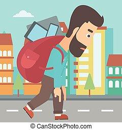 plecak, pełny, devices., człowiek