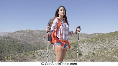 plecak, podróżny, pociągający, samica