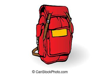 plecak, wektor, turysta, ilustracja, czerwony