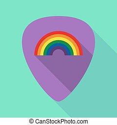 plectrum, regenbogen, schatten, langer