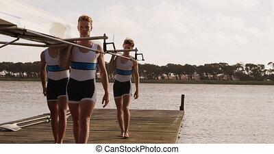 plecy, łódka, ich, samiec, wioślarz, transport, drużyna