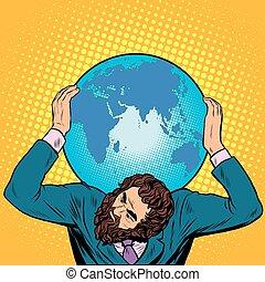 plecy, jego, zawiera, biznesmen, atlas, ziemia