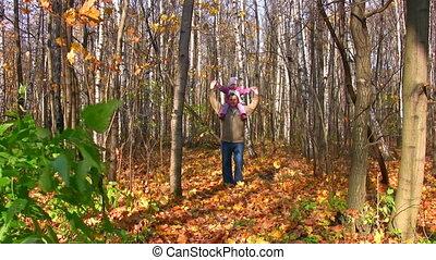 plecy, park, mały, jesień, senior, dziewczyna