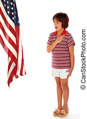 Elementary girl pledging allegiance to the American flag. Isolated on white.
