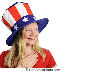 Pledge of Allegiance - A beautiful young girl dressed...