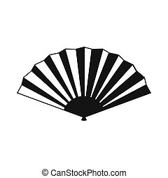 plegadizo, simple, ventilador, estilo, icono, japonés