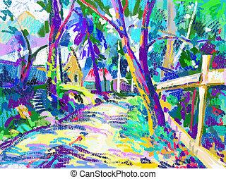 plein air digital painting of summer landscape in park,...