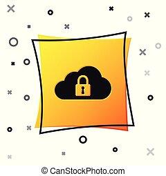 plein, bescherming, gegevensverwerking, slot, concept., vrijstaand, gele, button., achtergrond., vector, black , illustratie, witte , pictogram, veiligheid, wolk, veiligheid